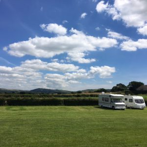 camper van and caravan on the site