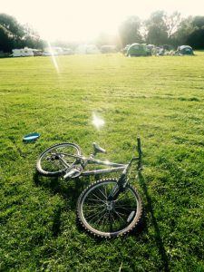 a bike on the grass