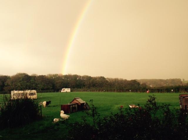 rainbow over the campsite