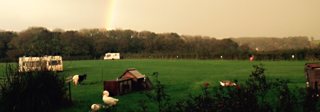 rainbow over the campsite